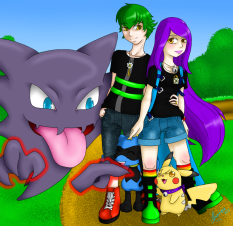 This is my family~ Sirius and Spazz, their baby Bandit the Riolu and their partner pokémon Sparky and Haunter. This took me so long to do ;3; I wanted it perfect! Silly haunter ;3; stop tickling Bandit~ I love my family c: it's mine and I wouldn't change it for anything else!