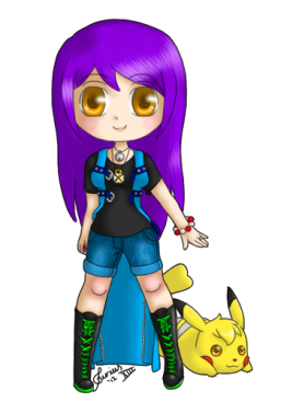 Oh gosh, this one was difficult ;A; I set myself the limit of having only 2 shades and 2 highlights for each colour (I broke that limit a little with the hair) And I'm aware that Sparky... She ain't so chibi >.> I've found that drawing chibi Pikachus is hard... So yeah <3 I'm off to continue being a warlord and conquer more Pokemon kingdoms~