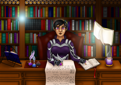 A gorgeous commissioned piece for a friend of mine; it's a piece of her mage from World of Warcraft taking notes on Enchanting in a library