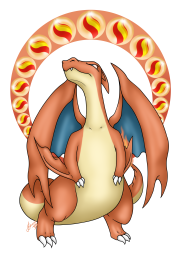 A print made of the mega pokemon, Charizard Y